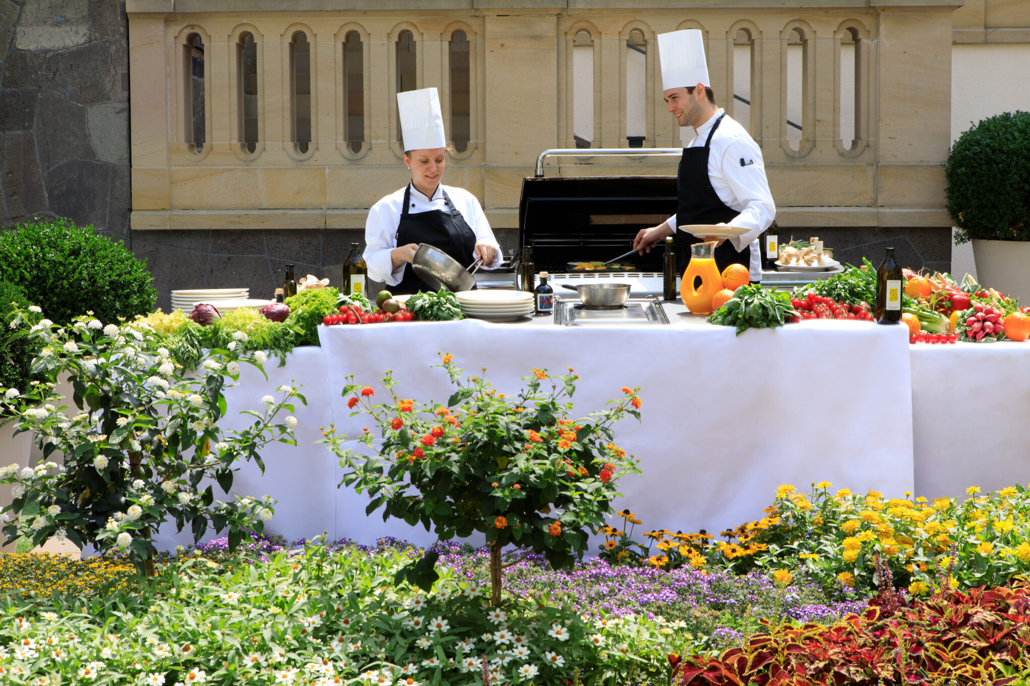 Villa Kennedy Rocco Forte Frühstück Buffet auf der Außenterrasse